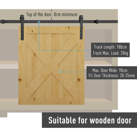 Homcom 180cm Sliding Track Steel Barn Wood Door Hardware Kit Cabinet Closet Hanger