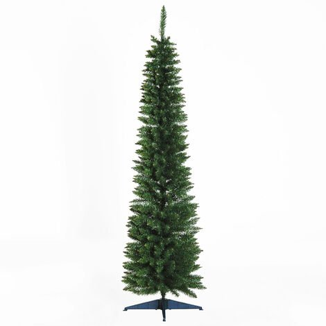 HOMCOM 1.8m 6ft Artificial Pine Pencil SlimTall Christmas Tree Xmas Holiday Décor with Stand