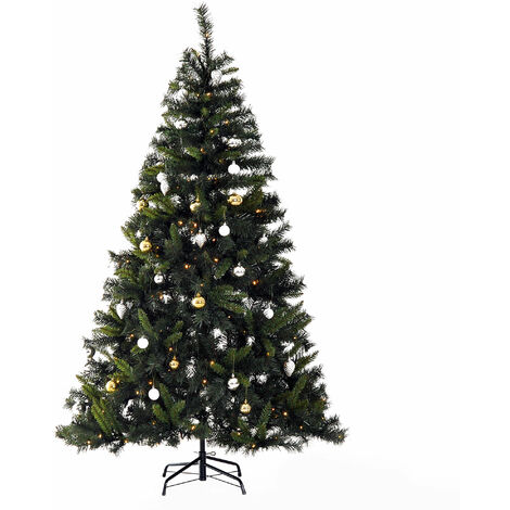 HOMCOM 1.8m 6ft Pre-Lit Artificial Christmas Tree LED Xmas Tree with Decorative Balls Metal Stand