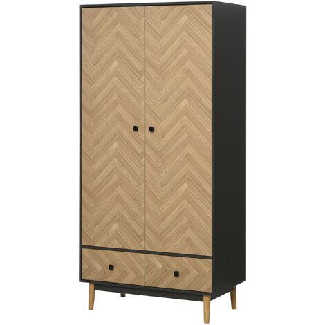 "main image of ""HOMCOM 190x90cm Modern Wardrobe Cabinet w/ Shelf Hanging Rod 2 Drawers"""