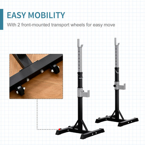"""main image of """"HOMCOM 2 Adjustable Barbell Squat Rack Portable Stand Weight Bench Press Home Gym"""""""