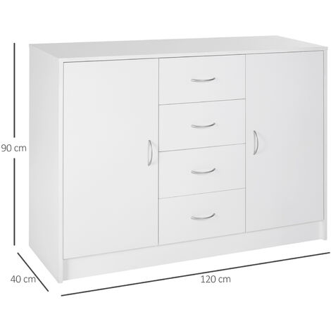 Homcom 2 Door 4 Drawer Cabinet Storage Unit Cupboard Chest Organizer - White