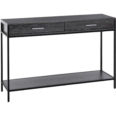 HOMCOM 2 Draw Console Bottom Shelf Home Storage Minimal Style Grey Wood Tone