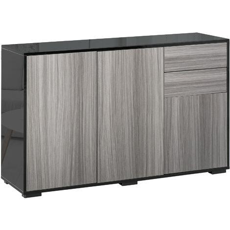 HOMCOM 2 Drawer 2 Cupboard Freestanding Storage Cabinet Home Organisation Black & Grey