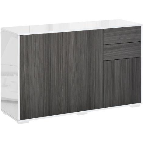 "main image of ""HOMCOM 2 Drawer 2 Cupboard Freestanding Storage Cabinet Home Organisation White & Grey"""