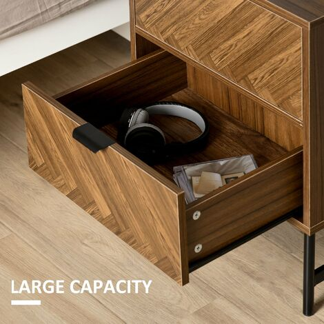 HOMCOM 2-Drawer Herringbone Effect Side Table Cabinet Stylish Home Tidy