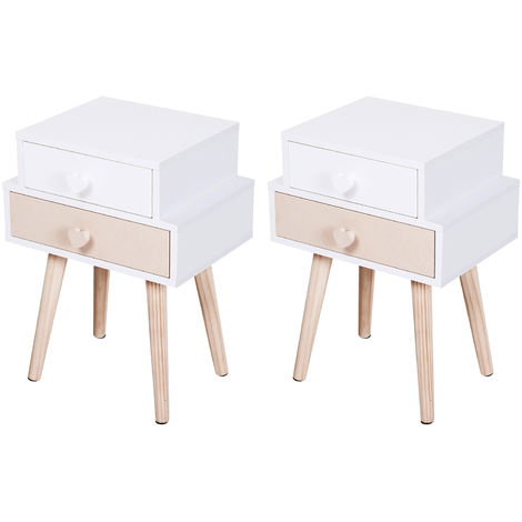 HOMCOM 2-Drawer Kids Bedside Table w/ Heart Handles Solid Wood Legs Bedroom White Pink