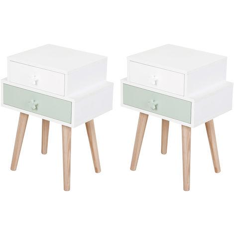 HOMCOM 2-Drawer Kids Bedside Table w/ Star Handles Solid Wood Legs Bedroom White Blue