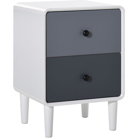 HOMCOM 2 Drawer Modern Bedside Table Cabinet Organiser Unit Bedroom Storage