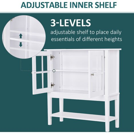 HOMCOM 2 Glass Door Modern Kitchen Sideboard Storage Cabinet Cupboard White