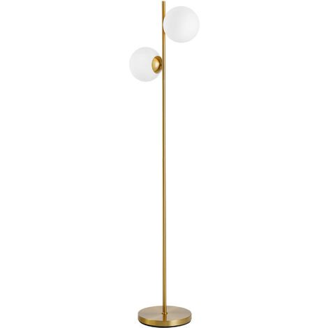 HOMCOM 2 Glass Shade Floor Lamp Metal Pole Modern Decorative Floor Switch Gold