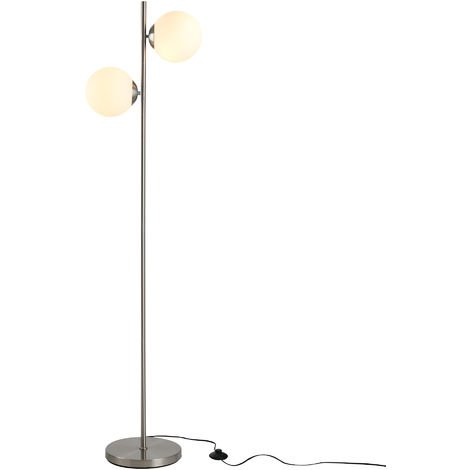 HOMCOM 2 Glass Shade Floor Lamp Metal Pole Modern Decorative Floor Switch Silver