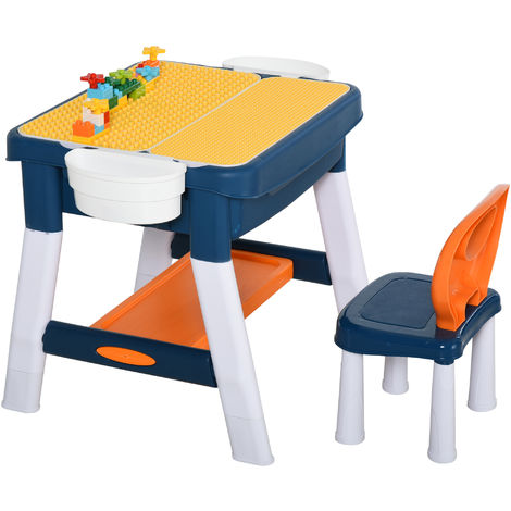 HOMCOM 2-In-1 Activity Table & Chair Keyboard Building Blocks Centre Toy