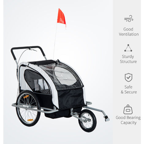 Homcom 2 in 1 Collapsible 2-Seater Kids Stroller and Bike Trailer