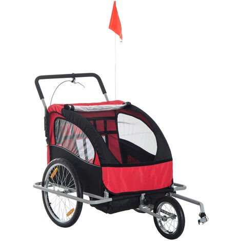 HOMCOM 2 in 1 Collapsible 2-Seater Kids Stroller and Bike Trailer - Black & Red