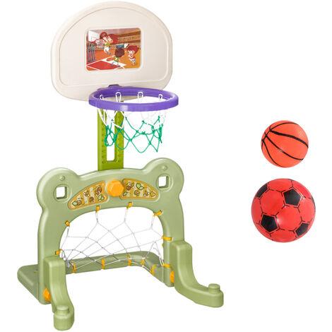 HOMCOM® 2 in 1 Fußball Basketball Basketballkorb Kinder Spielzeug Ball Grün L61 x B53 x H99 cm