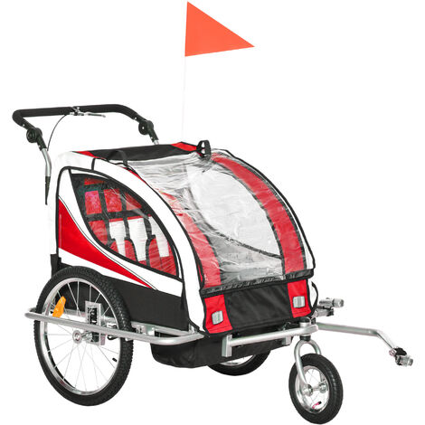 HOMCOM 2 in 1 Kids Bicycle Trailer Baby Child Stroller Jogger Steel Frame LED Light