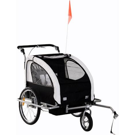 Homcom 2 in 1 Multifunctional Bicycle Child Carrier Baby Trailer Kit Steel Frame