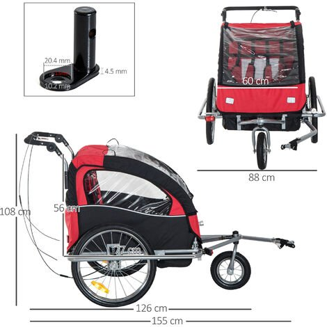 HOMCOM 2 in 1 Multifunctional Bicycle Child Carrier Baby Trailer Kit Steel Frame - Black and Red