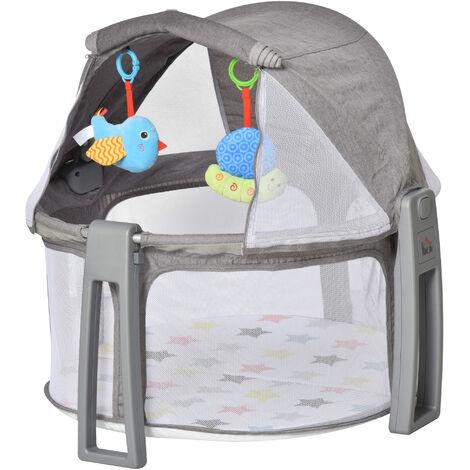 HOMCOM 2-In-1 Round Baby Cot Activity Gym Playmat Crib Infants Newborns