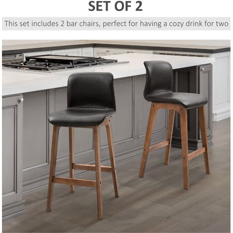 HOMCOM 2 Pcs 93cm Faux Leather Bar Stools Wooden Frame Footrest Stylish Brown