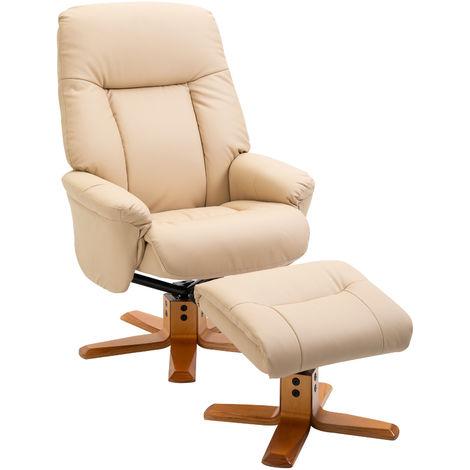 HOMCOM 2 Pcs PU Leather Recliner Armchair Footstool Set Wood Base Base Beige
