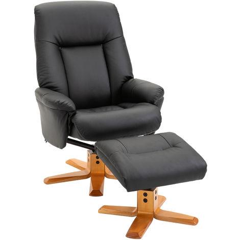 HOMCOM 2 Pcs PU Leather Recliner Armchair Footstool Set Wood Base Base Black