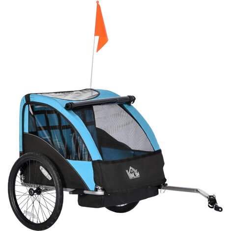 HOMCOM 2-Seat Child Bicycle Trailer Foldable Outdoor Carrier w/ Storage Bag Blue