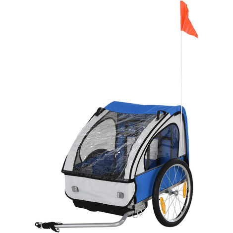 HOMCOM 2-Seat Child Bike Trailer Carrier w/ 5-point Safety Harness Wheels Blue