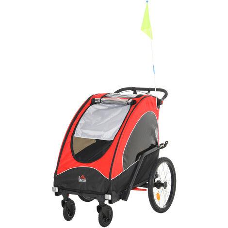 HOMCOM 2-Seater Child Bike Trailer Foldable Jogger Stroller Baby Carrier Black