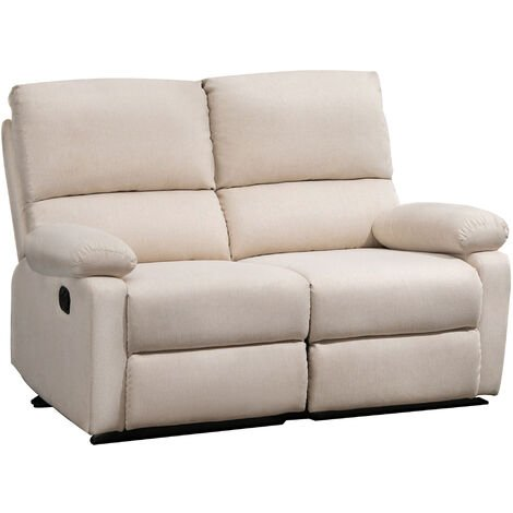 HOMCOM 2-Seater Double Linen Manual Recliner Sofa Home Comfort Seat Beige