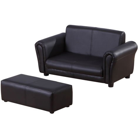 HOMCOM 2 Seater Kids Twin Sofa Double Seat Chair Armchair w/ Footstool - Black