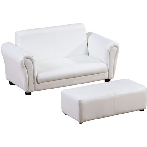 HOMCOM 2 Seater Kids Twin Sofa Double Seat Chair Armchair w/ Footstool - White