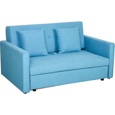 HOMCOM 2-Seater Storage Sofa Convertible Bed Wood Frame Padding Compact Blue