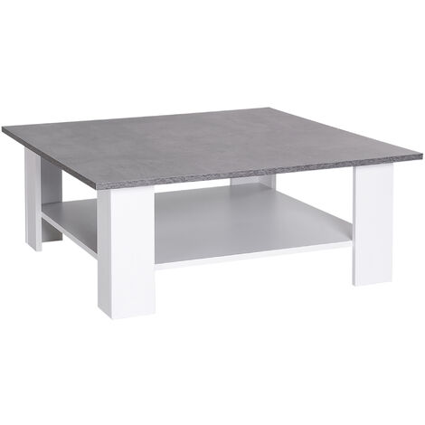 HOMCOM 2 Tier Coffee Table Square With Storage Shelf Indoor Living Room