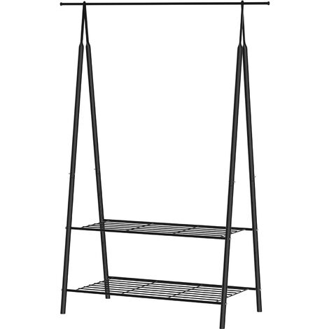 HOMCOM 2-Tier Garment Coat Rail Shoes Clothes Metal Tidy Freestanding 100x46x148 cm