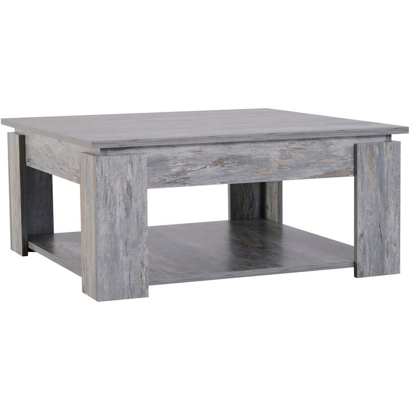 Homcom 2 Tier Modern Wood Coffee Table Side Table Living Room Grey Wood Grain Uk833 5570331