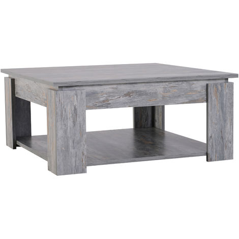 HOMCOM 2 Tier Modern Wood Coffee Table Side Table Living Room - Grey Wood Grain