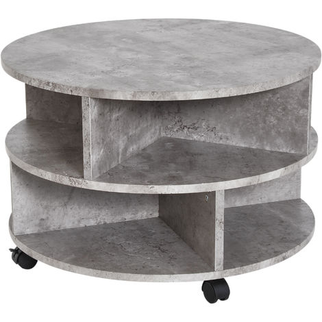 HOMCOM 2 Tier Round Side End Table Coffee Shelves Organiser with Wheels - Cement colour