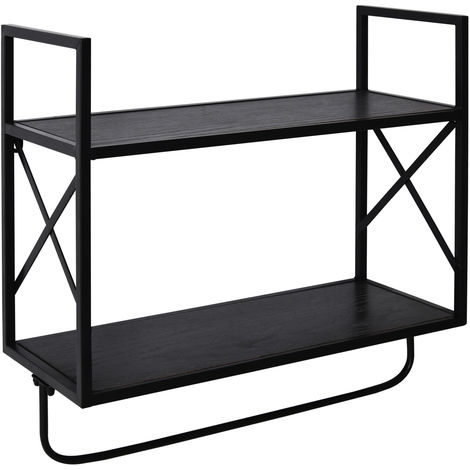HOMCOM 2-Tier Wall Shelf Metal Frame Wood Shelves Bottom Rail Storage Rack Grey
