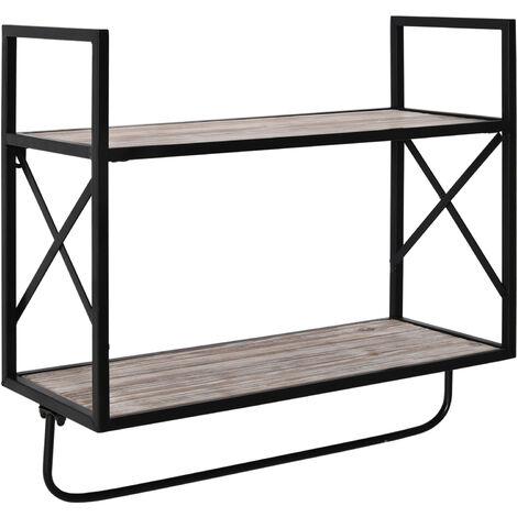 HOMCOM 2-Tier Wall Shelf Metal Frame Wood Shelves Bottom Rail Storage Rack Natural