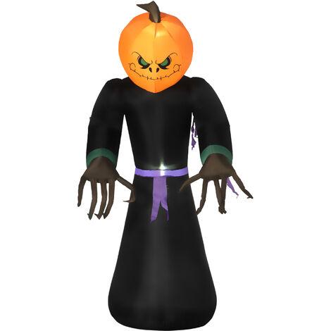 "main image of ""HOMCOM 2.1m Inflatable Pumpkin Ghost Head Monster Vampire 6 LED Lights Halloween"""