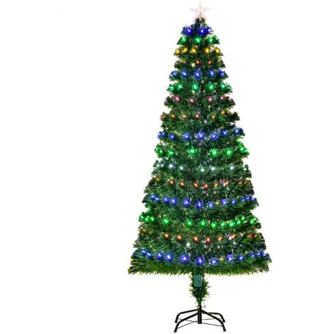 HOMCOM 220 Branch 180CM Pre-Lit Fiber Optic Christmas Tree LED Lights