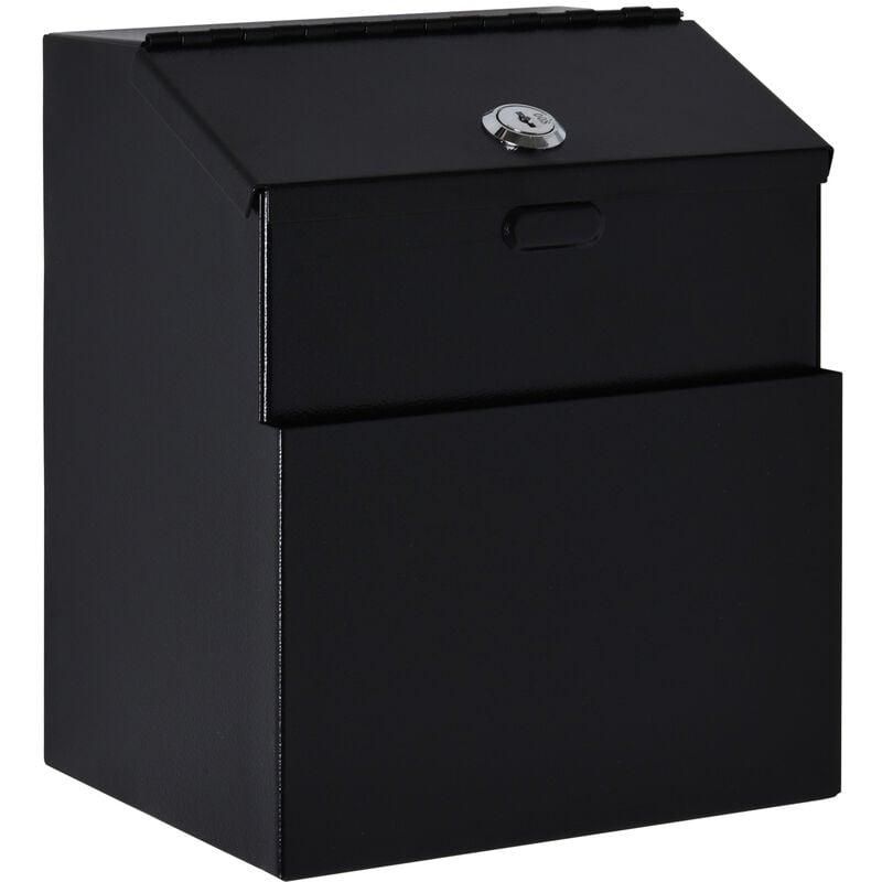 Image of 22x18cm Steel Post Box Lockable Letter Storage Hold Mail Storage 2 Keys - Homcom