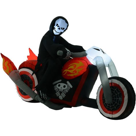 HOMCOM 2.3m Inflatable Grim Reaper Motorcycle Halloween Decoration Ghost Outdoor Lighted Airblown