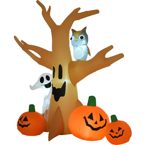 """main image of """"HOMCOM 240cm Large Halloween Scary Lighting Inflatable Tree Ghost 3 Pumpkins Owl 5 LED Lights Indoor Outdoor Holiday Decoration"""""""