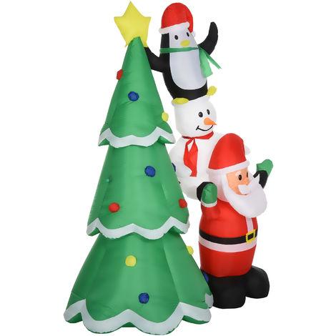 HOMCOM 2.43m Inflatable Christmas Tree & Santa Decoration w/ LED Lights Fun