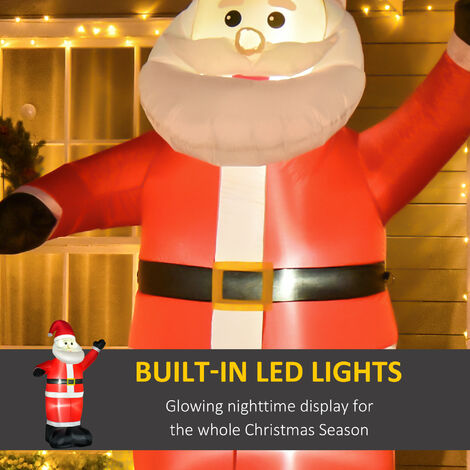 """main image of """"HOMCOM 2.4m Inflatable Christmas Santa Claus Decoration with LED Lights Outdoor Décor"""""""