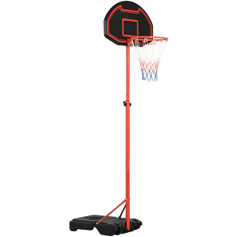 HOMCOM 250cm Adjustable Basketball Hoop w/ Backboard Fillable Base Wheels Kids