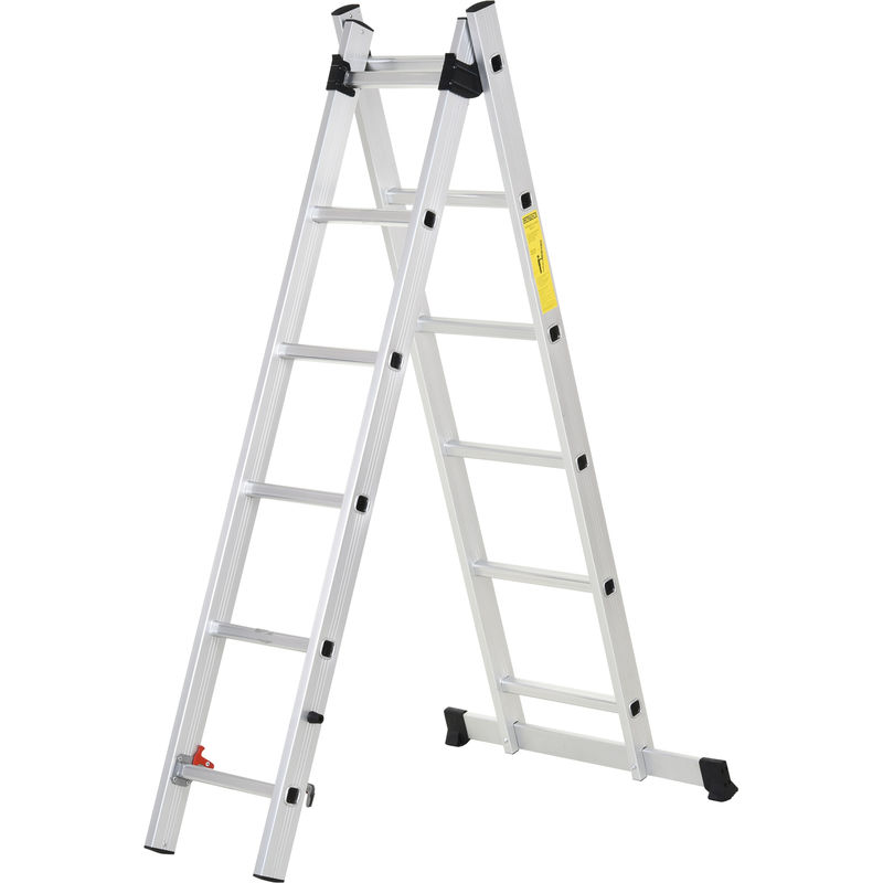 Image of 2.5m Aluminium Duo Ladder w/ Non-Slip Feet Wide Steps Indoor Outdoor DIY - Homcom